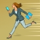 a Businesswoman Runs with a Smartphone - GraphicRiver Item for Sale
