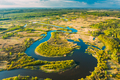 Aerial View Green Forest Woods And River Landscape In Sunny Spring Summer Day. Top View Of Beautiful - PhotoDune Item for Sale