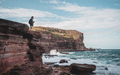 Young Tourist With Backpack Standing on the Edge of Cliff. Outdoor Adventure.Sydney,Australia. - PhotoDune Item for Sale