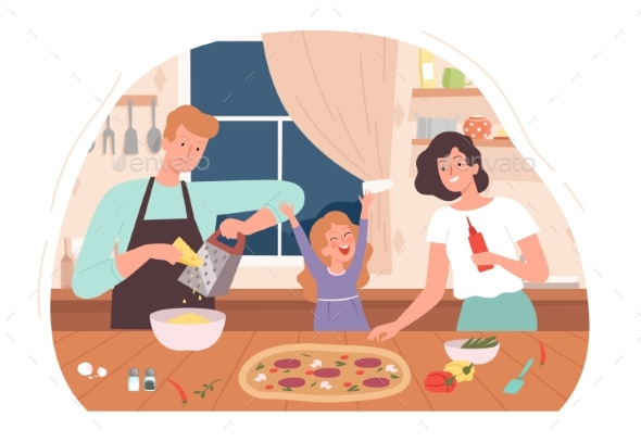 Family Cooking Pizza