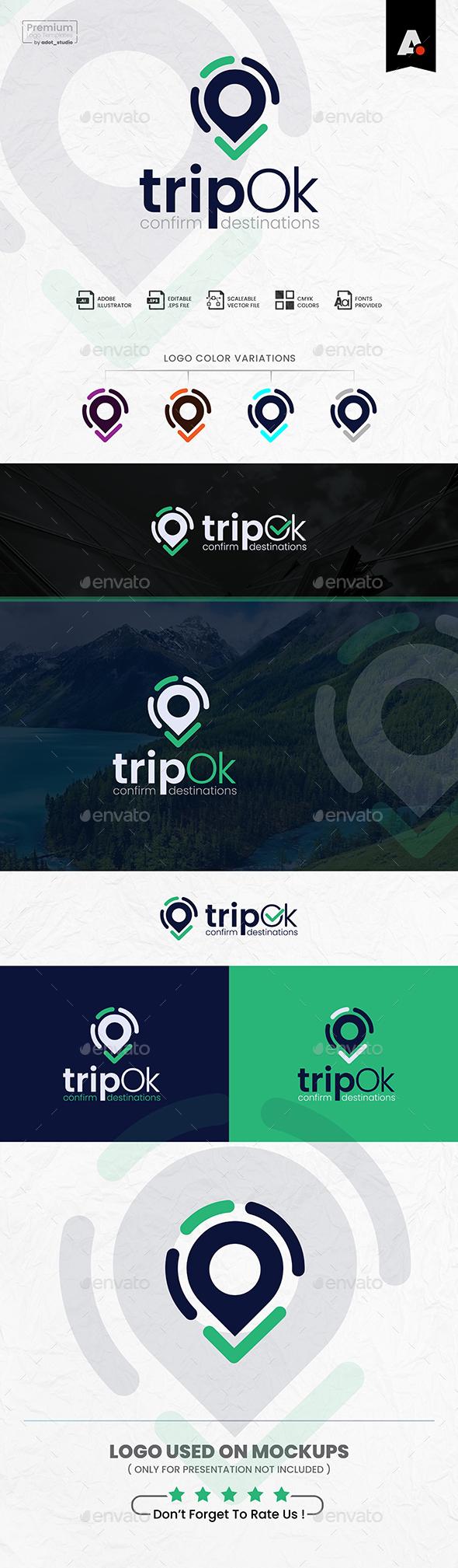 Trip Logo, Map logo, Travel Destination Logo Template