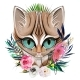 Cat's Head Portrait with Flowers and Leaves - GraphicRiver Item for Sale