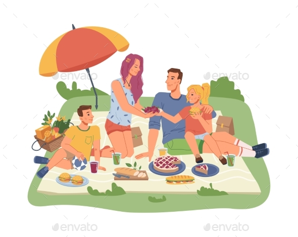 Picnic with Family Parents and Kids Food Drinks