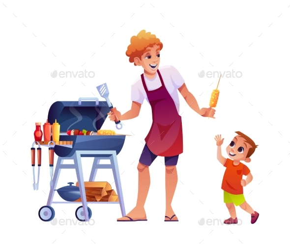 Father and Son on Picnic Grilling BBQ