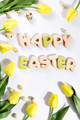Easter greeting card with tulip flowers, gingerbread cookies and eggs - PhotoDune Item for Sale
