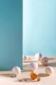 Broken golden egg with easter bunny on blue background - PhotoDune Item for Sale