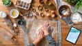 Top view of unrecognizable woman baking biscuits, desktop concept - PhotoDune Item for Sale