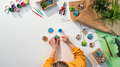 Top view of craftswoman making diy decorations, small business and desktop concept - PhotoDune Item for Sale