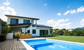 House with swimming pool outdoors in backyard garden - PhotoDune Item for Sale