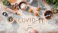 Flat lay top view of baking ingredients, impact of coronavirus on small business concept - PhotoDune Item for Sale