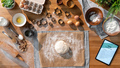 Flat lay top view of dough and baking ingredients, desktop concept - PhotoDune Item for Sale