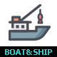 Boat and Ship Line with Color Icons - GraphicRiver Item for Sale
