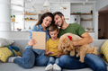 Happy family having fun time, playing together at home with dog - PhotoDune Item for Sale