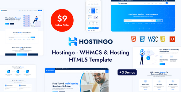 Hostingo – WHMCS & Hosting HTML5 Template, Gobase64