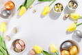 Colorful easter and quail eggs in bowl and tulips on white background with . Flat lay - PhotoDune Item for Sale