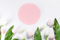 Easter eggs and tulips with circle pink postcard on light background - PhotoDune Item for Sale