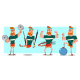 Fitness Exercise For Man Vector Cartoon Characters Set. - GraphicRiver Item for Sale