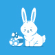 Cute Easter Bunny With Eggs Vector Cartoon Character. - GraphicRiver Item for Sale