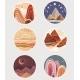 Set of Flat Minimalist Landscapes in Round Frames - GraphicRiver Item for Sale