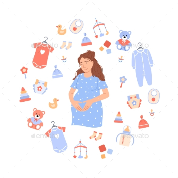 Flat Pregnant Woman on Circle Baby Background