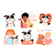 Happy Kids Playing with Dogs Children and Pets Set - GraphicRiver Item for Sale