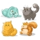 Cartoon Cute Funny Little Cat Rabbit and Squirrel - GraphicRiver Item for Sale