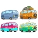 Cartoon Colorful Retro Van Bus with Peace Sign - GraphicRiver Item for Sale