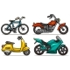 Cartoon Bicycle Scooter and Motorbikes Vector Set - GraphicRiver Item for Sale