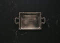 Empty antique silver tray against dark marble - PhotoDune Item for Sale