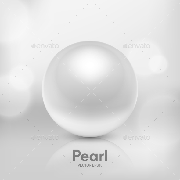 Vector 3d Realistic Beautiful Natural White Pearl