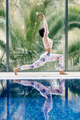 sportive woman yoga practice morning relaxation on vacation resort - PhotoDune Item for Sale
