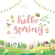 Hello Spring Card with Lettering and Cute - GraphicRiver Item for Sale