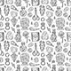Witchcraft Monochrome Vector Seamless Pattern. - GraphicRiver Item for Sale