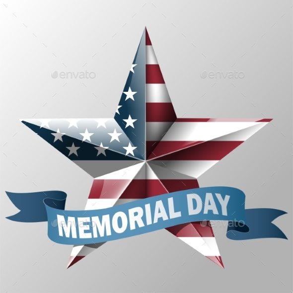 Mem Day with Star in Usa Flag Colors