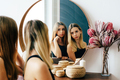 Two twins sisters teenagers look in the mirror. Beauty concept. Portrait of young women. - PhotoDune Item for Sale