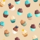Seamless Vector Pattern with Pastel Color Cupcakes - GraphicRiver Item for Sale
