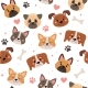 Cute Pets Seamless Pattern with Different Dogs - GraphicRiver Item for Sale