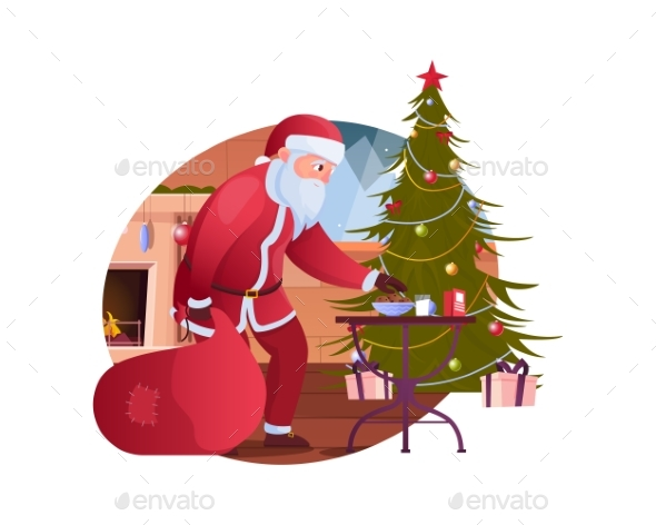 Santa And Tree Composition