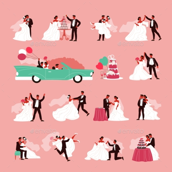 Wedding Couple Icon Set