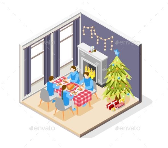 Christmas Isometric Composition