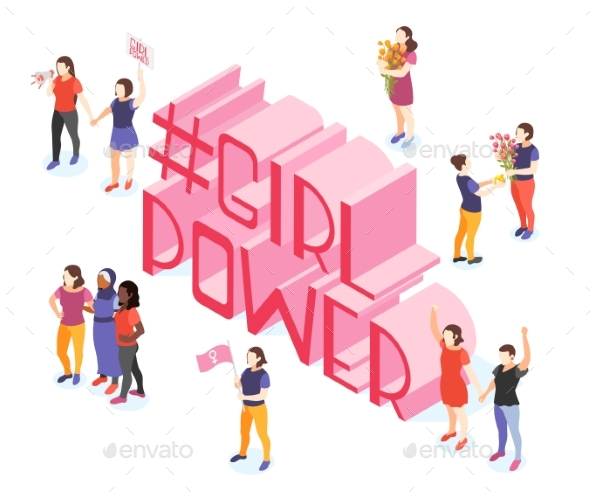 Girl Power Isometric Composition