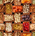 Seamless flat lay food background of dehydrated fruits, seeds and nuts on black - PhotoDune Item for Sale