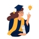 A Girl Student in Gown and Mortarboard  - GraphicRiver Item for Sale