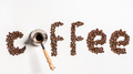 Top view of word coffee made from coffee beans and turkish coffee pot - PhotoDune Item for Sale