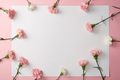 top view of beautiful carnation flowers and blank card on pink background - PhotoDune Item for Sale