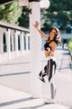 Sexy Female runner in sportswear outdoors. slim athletic Female runner posing - PhotoDune Item for Sale