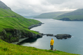 Dramatic view of green hills of Vagar island and Sorvagur town - PhotoDune Item for Sale