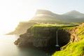 Mulafossur waterfall in Gasadalur, Vagar Island of the Faroe Islands - PhotoDune Item for Sale