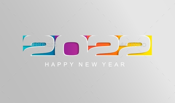 Happy 2022 New Year Card in Paper Style