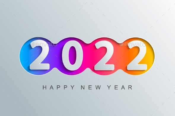 2022 New Year Greeting Card in Paper Cut Style